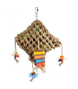 Vogelspeelgoed net vierkant Multi-color 28x10x45 cm